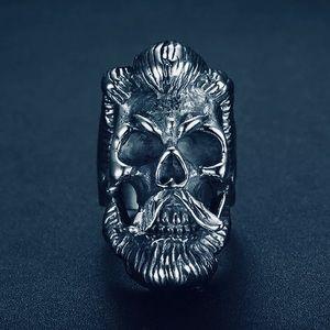 NEW Men's Beard Man Skull Stainless Biker Ring